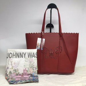 Johnny Was Butterfly Perforated Scalloped Purse